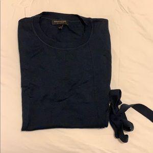 Navy short sleeve silk cashmere sweater